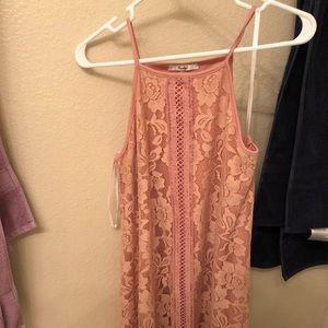 Papaya Pink Lace Detail Dress